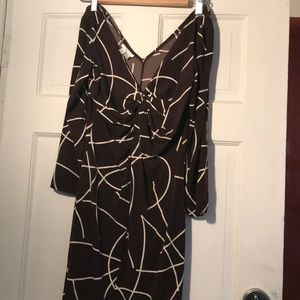 Brown and cream short swingy dress